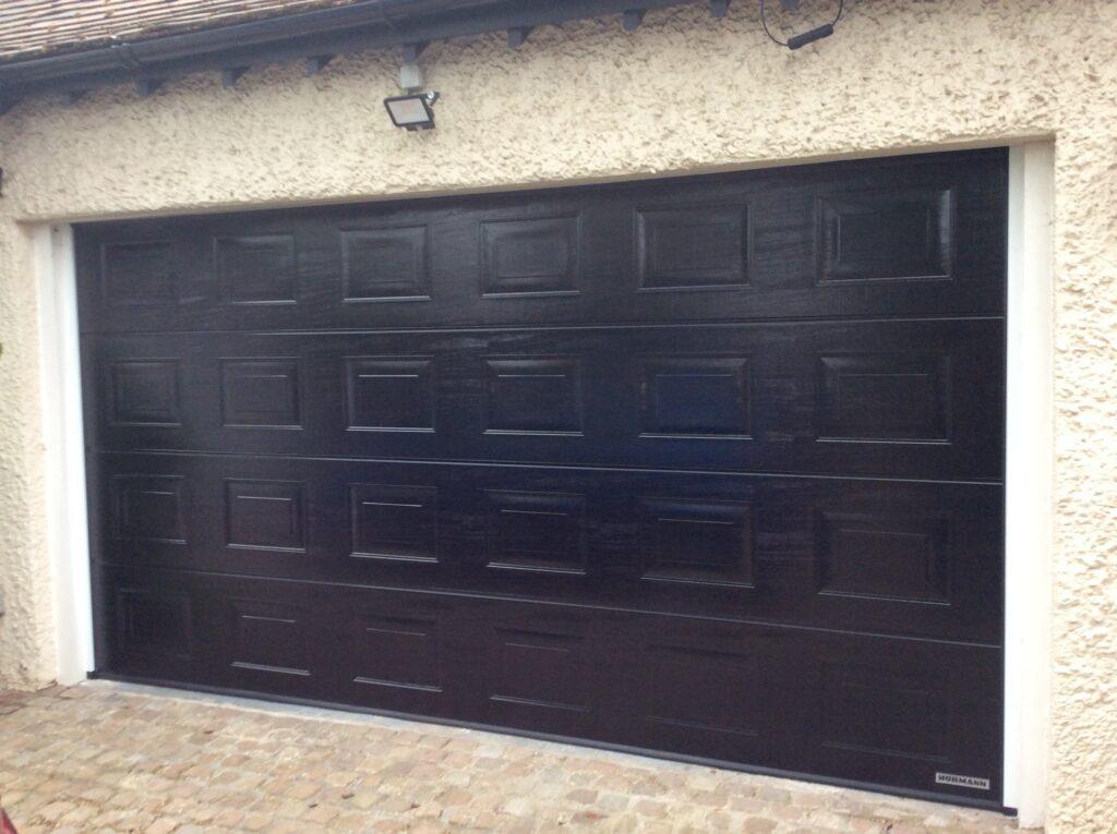 Hormann S-Ribbed Double Sectional Garage Door in Jet Black