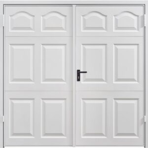 Garador Cathedral Steel Side Hinged Garage Door in Traffic White