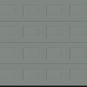 A Garador Woodgrain Sectional Garage door in Window Grey
