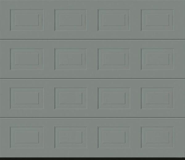 A Garador Woodgrain Sectional Garage door in Window Grey